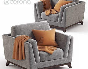 ARTICLE Ceni Pyrite Gray Armchair 3D
