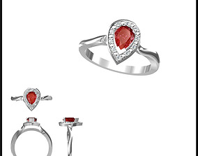 Color stone rings for women cad 3D print model 2
