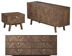 3D model Parker - Dresser and Bedside table Set