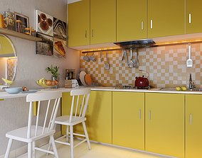 3D model Lumion Skills by Chuck - Yellow Kitchen