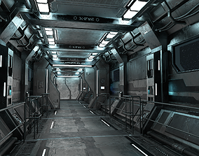 3D asset Sci-Fi Modular Corridor with Door Ver 1
