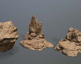 sand Rock Set 3D model VR / AR ready