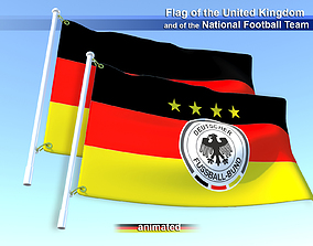 3D Flags of the Germany and the National Football