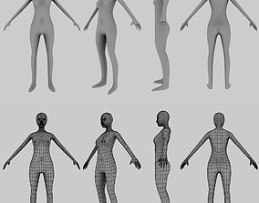 3D asset Low poly Female Low poly Woman