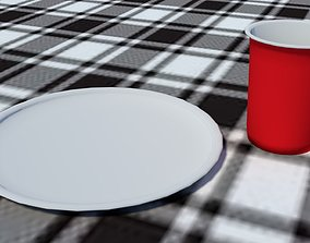 Dinnerware Low Poly Plate and Cup 3D model