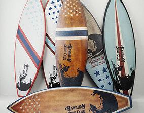3D model Vintage Wooden Surfboards