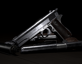 Colt 1911 3D model low-poly