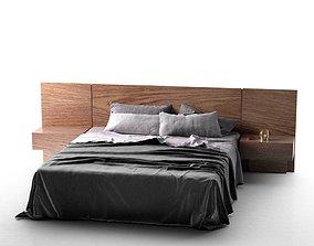 Queen Bed 3D model contemporary blue