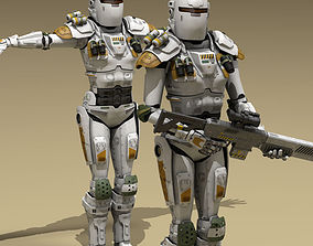 3D model Sci-fi female armoured soldier
