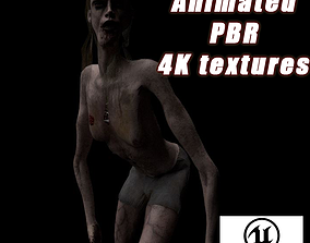 Scary zombie girl 3D asset