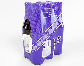 3D model 6 pack 330ml shrinkwrapped bottles