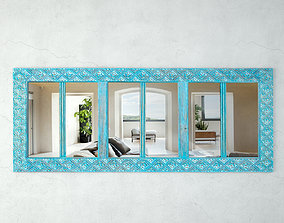 3D Blue Carved Mirror