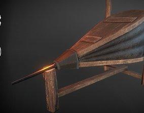 Medieval Blacksmith Bellows with holder 3D asset