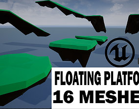 3D asset lowpoly floating platforms and islands