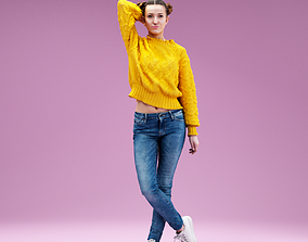 3D model Girl wearing Yellow Pull and Jeans Shorts Hand in