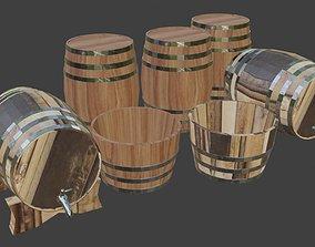 Wine Barrels and half barrel buckets 3D model