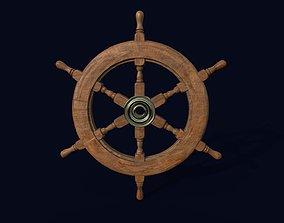 3D asset VR / AR ready Ship Navigation Steering wheel