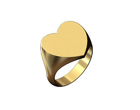 3D print model Engravble Large heart shaped signet ring 2