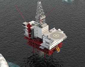 Jotun B Offshore Oil Platform 3D model