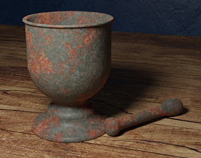 3D model Rusted Mortar and Pestle