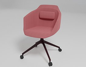 ULTRA - Swivel upholstered fabric chair with castors - 3D