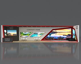 3D Booth Exhibition Stand Stall 16x4m Height 350 cm 3