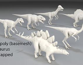 3D model Dinosaur-6 peaces-low poly-part 1