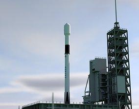 3D model Falcon 9 Block 5 cartoon style