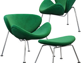 Slice chair and ottoman by Pierre Paulin 3D