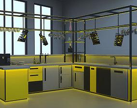 Modern bar high tech style 3D presentation