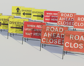 Temporary Traffic Sign - Low-poly PBR 3D asset