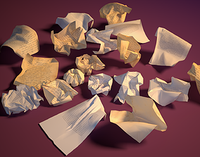 20 Crumpled paper Pack 3D model