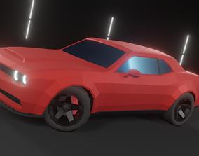 Dodge Challenger Hellcat Low-Poly Car 3D asset