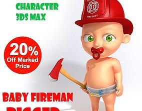 3D model Baby Fireman Cartoon Rigged