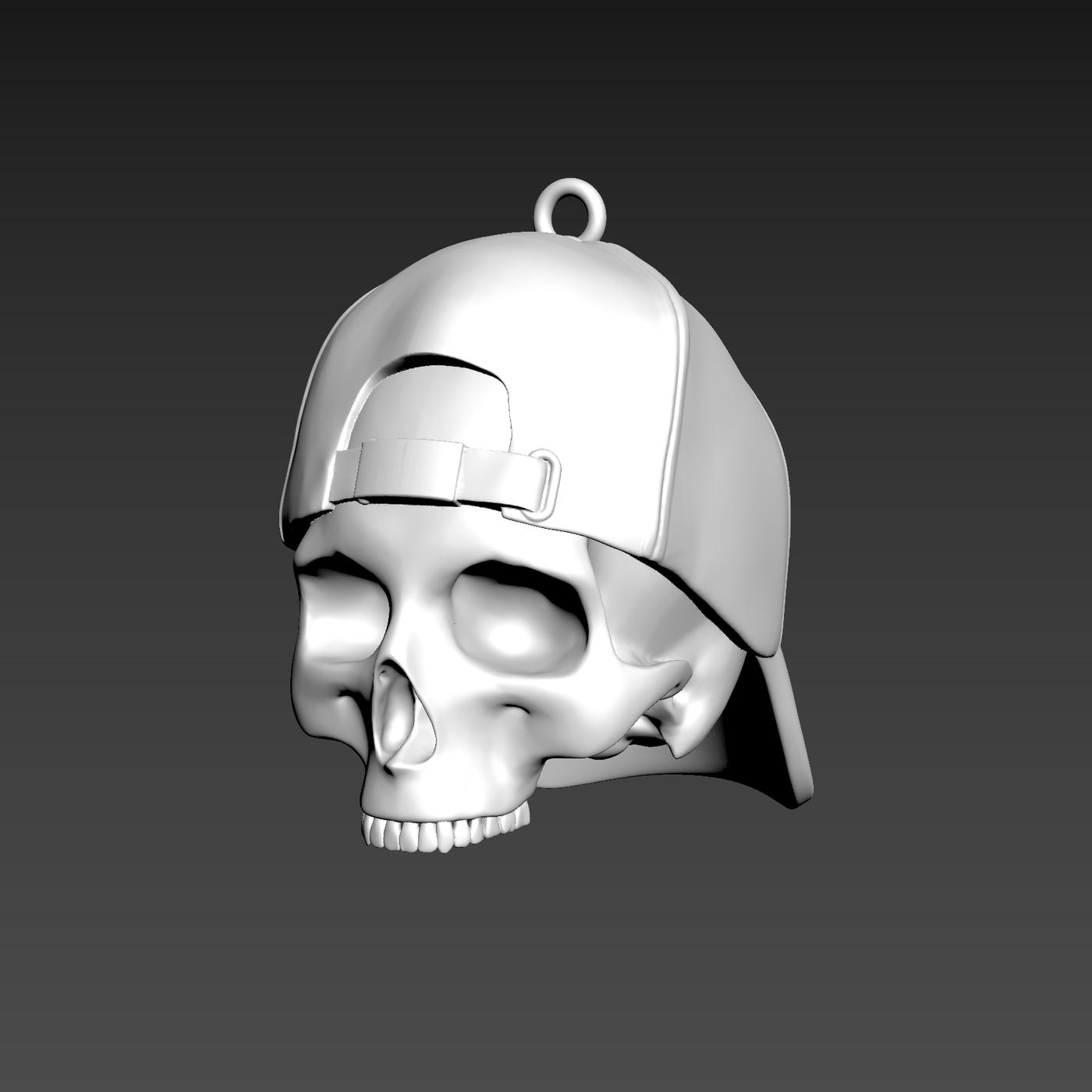 Hooded Skull Pendant jewelry Gold 3D print model