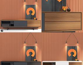3D model Modloft Baxter media cabinet - decor - wall panel