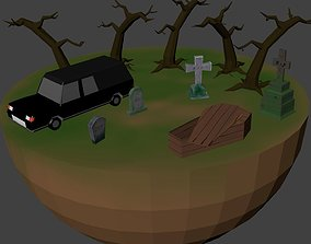 3D model pack low poly Cemetery