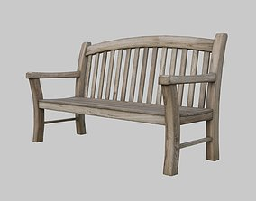 3D asset Bench outdoor - aged wood