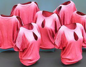 Pink Open Shoulder Top Shirt 3D model