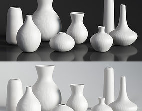 RH MATTE WHITE GLASS VASE COLLECTION 3D