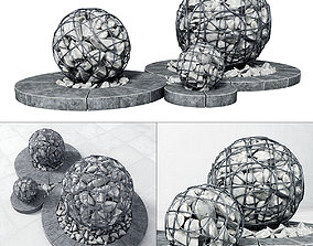 3D Street gabion sphere decor