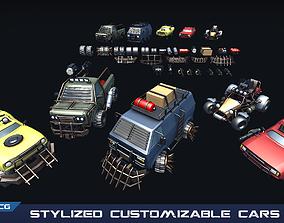 Stylized Customizable Cars post apo v1 3D asset