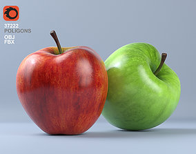 Red and Green Apple Fruit 3D