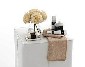3D model Bath Composition with White Rose on Pouf