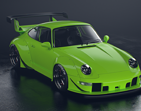 3D Porsche 993 RWB exposed twin turbo