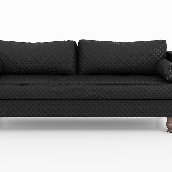 Sofa Bed Malik Quilted Black Leather