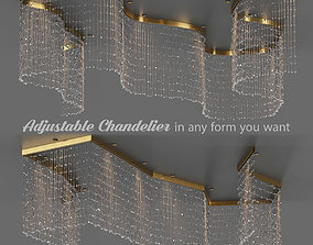 3D asset low-poly Adjustable Crystal String Chandelier