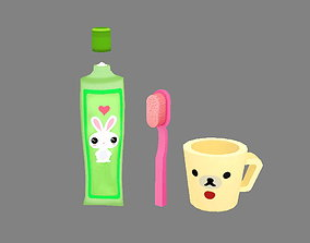 Cartoon toothpaste - toothbrush - water cup 3D asset