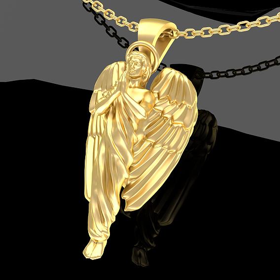Angel Praying Pendant Jewelry Gold 3D print model