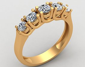 3D printable model Five Stone Gem Engagement Wedding Gold